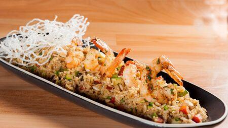 Fried rice with calamari - asian food. chaufa rice with shrimp. Nice
