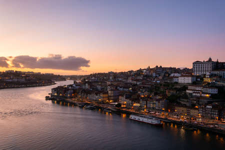 View to the beautiful city of Porto from D. Luis I bridge at sunset 版權商用圖片