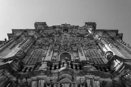 Carmo church facade in black and white. Details carved in stone. Stock Photo