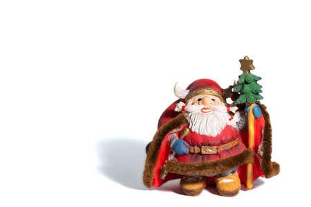 Christmas porcelain Santa Claus, white background Stock Photo