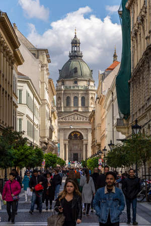 St. Stephen's Basilica. Giant church. Blue sky and clouds. Budapest, Hungary Editorial