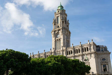 Porto City Hall. Pine trees. Blue sky with clouds. Tower.