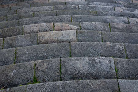 Detail of a stone staircase of a church. Close up shot. Porto, Portugal