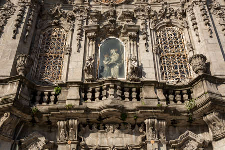 Detail of the stone facade of Carmo Church, Porto, Portugal