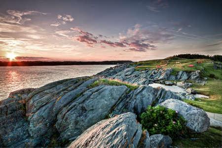 nova scotia: Sunset Yarmouth in Nova Scotia Stock Photo