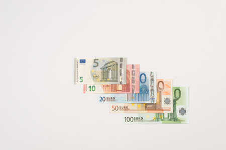 euro notes: Ranging Euro notes isolated lying Stock Photo