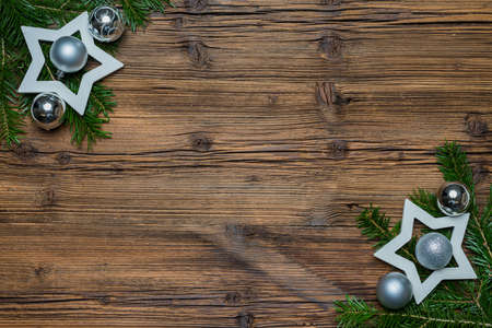 labeling: Wooden background with branches and stars Space for labeling
