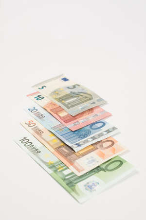 ranging: Ranging Euro notes isolated lying Stock Photo