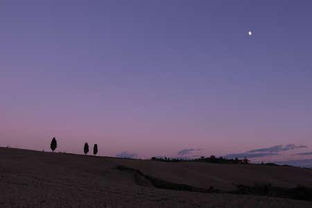 luxuriate: Evening light in Tuscany warm. Stock Photo
