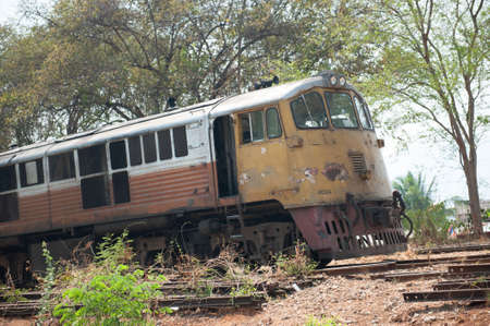 scrapped: Old train in Thailand, Kanchanaburi scrapped Stock Photo