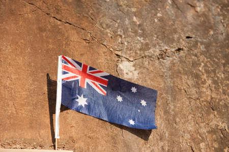 hellfire: Australian flag on Hellfire Pass in Thailand Stock Photo