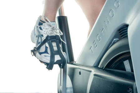 professionally: Exercising on the wheel sporty close-up - isolated Stock Photo