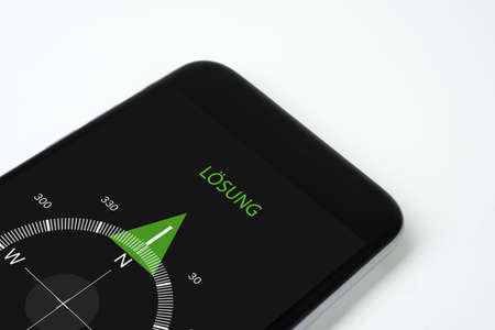 handy compass with text and arrow solution. Stock Photo