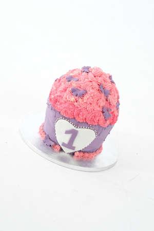 first birthday cake pie pink. Stock Photo