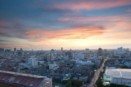 bangkok skyline sunset skyscraper city.
