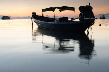 Boat at sunset in Koh Tao, Thailand