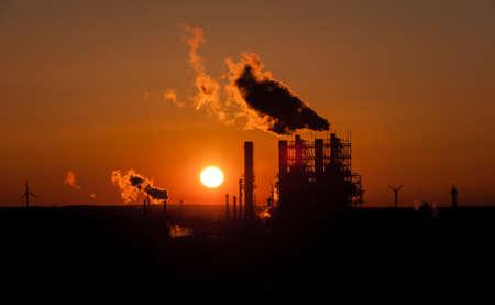 Industry in Hamburg at Sunset