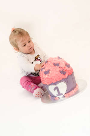 first birthday cake pink girl. Stock Photo