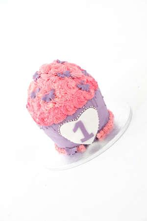first birthday cake pie pink. Standard-Bild