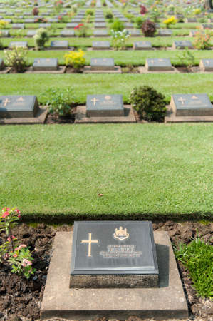 Grave of the fallen in World War II in Thailand Stock Photo