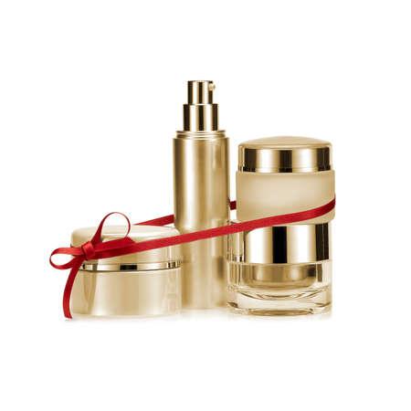 luxury goods: Golden nameless beauty set gift on white background Stock Photo
