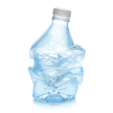 recycled water: Squashed plastic bottle  in order to recycle in blue color