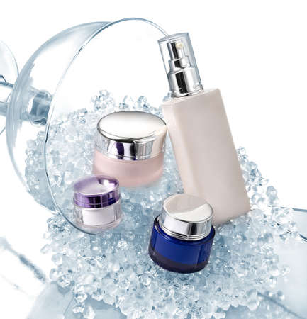 glass containers: Glamourous set of cosmetics