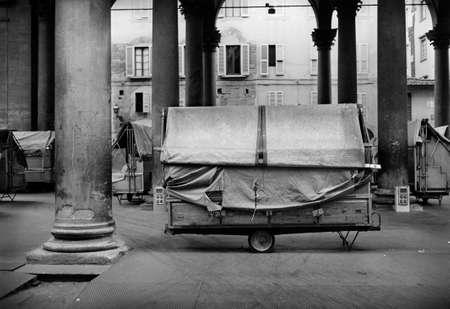 il: Marketplace IL Porcellino in Florence  Nostalgic B W view
