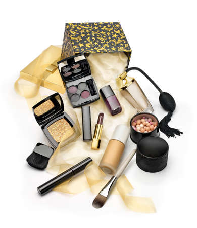 beauty make up: Make ups and cosmetics  Set gift on  white background