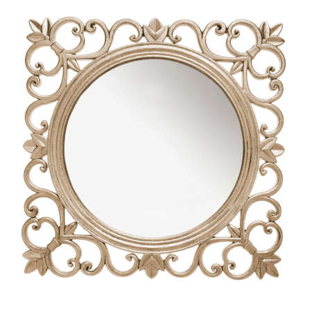 Aged and rustic mirror frame against white background photo