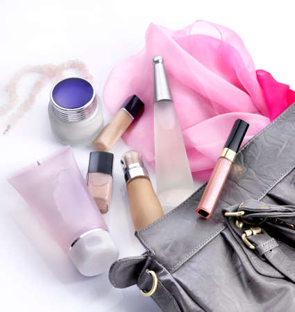 makeups: Makeups and cosmetics in a woman bag Editorial