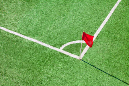 cut line: Football or soccer field  Corner flag Stock Photo