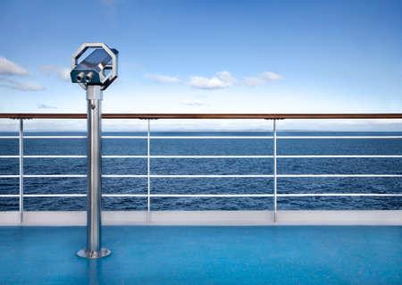 ship deck: Binoclars watching at horizon at ship deck