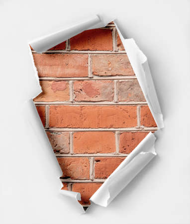 hollow walls: Hole ripped paper  Brick wall background  Stock Photo
