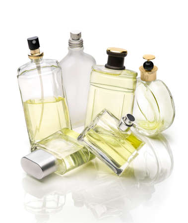 Perfumery bottles set over white background Stock Photo