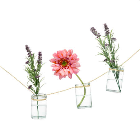 Three Vases And Flowers On White Background Stock Photo Picture And