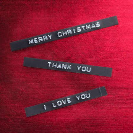 agradecimiento: Mensaje de agradecimiento en tiras de DYMO Foto de archivo