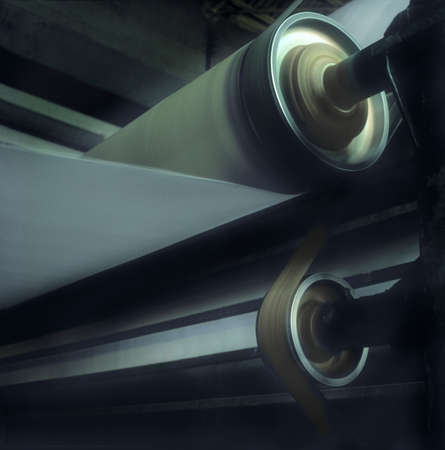 rotating: Paper reel rolling in paper machine   Analogic shoot