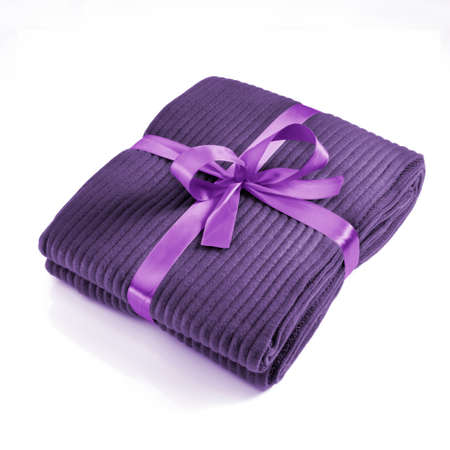 Blanket tied with a lilac bow photo