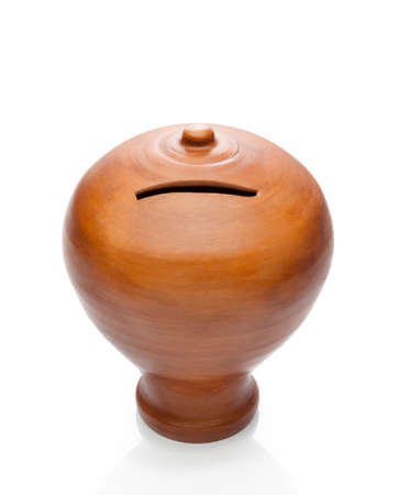 rabbet: Traditional handmade clay moneybox  Clipping path Stock Photo