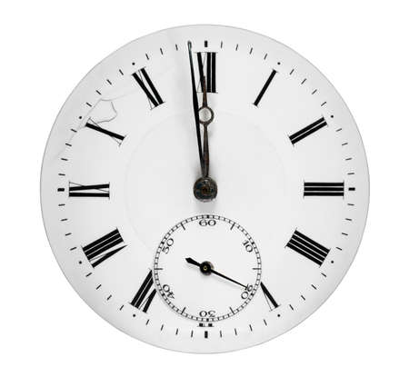 orologi antichi: Fronte di orologio che mostra un minuto a mezzanotte