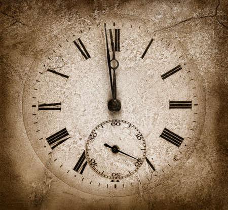 time machine: Midnight stone clock.Cracked texture