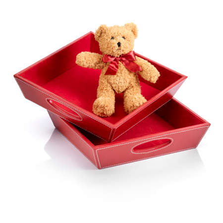 inocent: Toy and toy boxes against white background