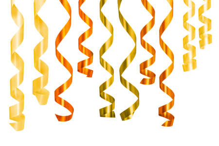 Different ribbons gift hanging against white background. Clipping path photo