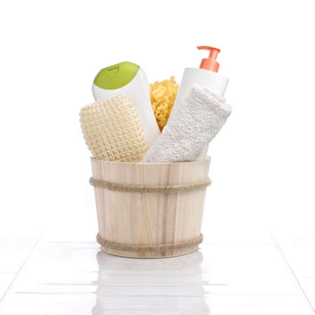ambiance: Cleaning set in a bathroom ambiance.  Stock Photo
