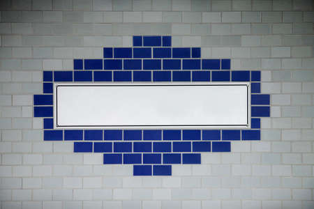 Blank subway wall sign. photo