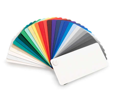 color swatch: Plastic color swatch on white background. Clipping path.