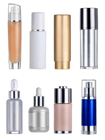 Cosmetics flasks. Clipping path