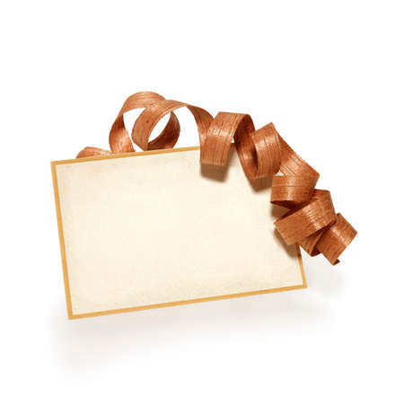 christamas: Greeting card with a wood ribbon Stock Photo