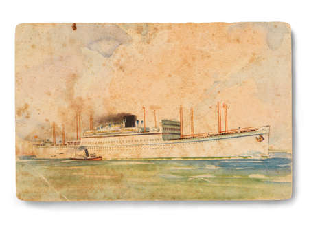 post card: Spain post card Circa 1949. Line cruise of the time from Europe to South America.   Stock Photo